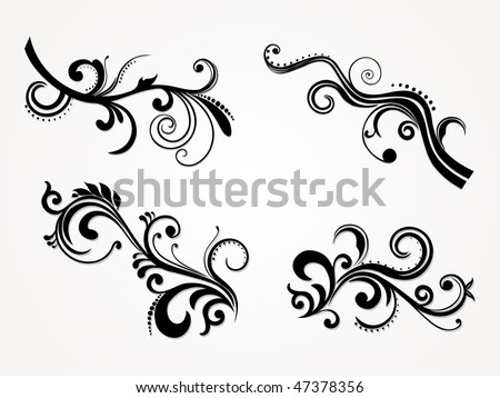 set of vector illustration of abstract floral silhouette