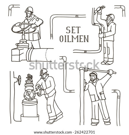Set of vector illustration of an oilman with pipe elements.