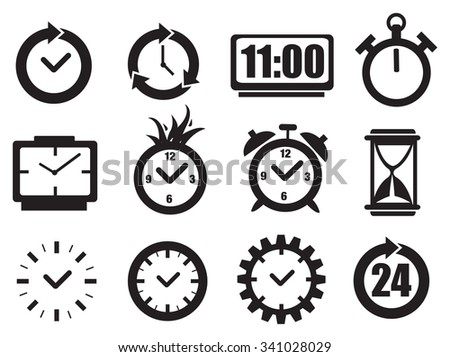 Set of vector illustration of clocks in black and white for time concept isolated on white background. - stock vector