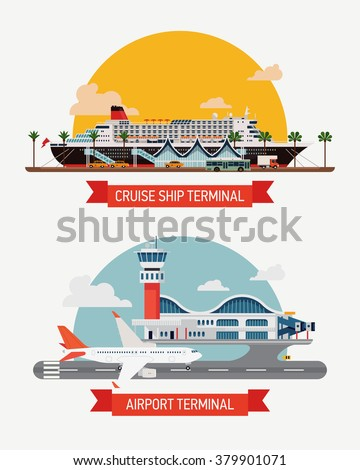 Set of vector illustration on airway and seaway travel. Vacation journey types. Cruise ship terminal port, airport terminal. Travel facilities, voyage options, jet plane, cruise liner - stock vector