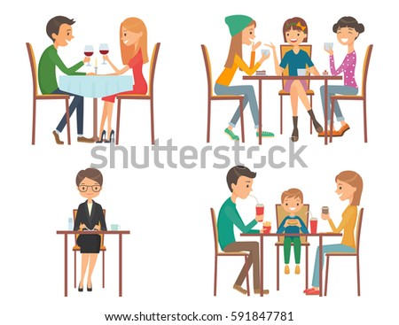Restaurant Background With People group people eating talking restaurant cafe stock vector 268935197