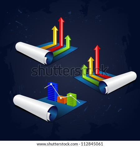 set of vector illustration roll of blue paper with colorful graph or diagram with arrows - stock vector