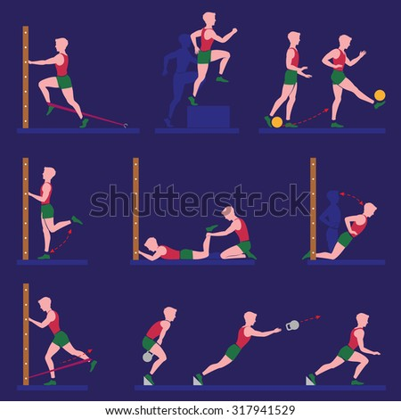 Set of vector illustration with athletic exercises. Flat illustration.
