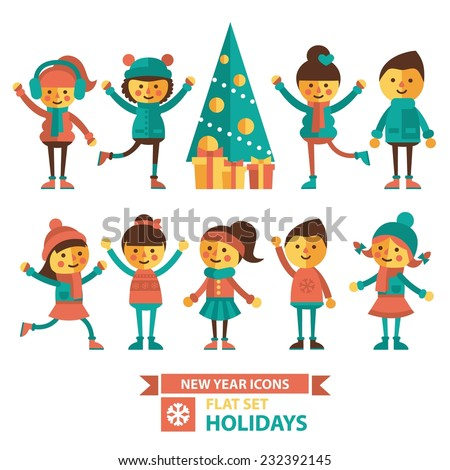 Set of vector illustration with boys and girls dancing and celebrating the new year. Christmas tree, gifts, dancing girls and boys in winter clothes. Flat style. - stock vector