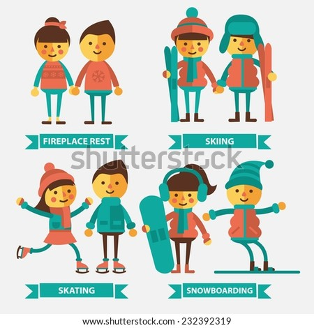Set of vector illustration with the characters in gear for winter sports. Couple in a warm sweater, couple skiing, skating couple, couple on the snowboard. Flat style. - stock vector