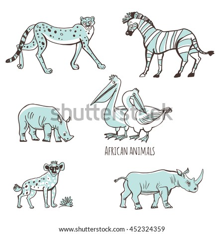 Set of vector illustrations. Animals of Africa in a cartoon style. Isolated on white background. Outline leopards, pelicans, rhinos, hyenas, zebras. - stock vector