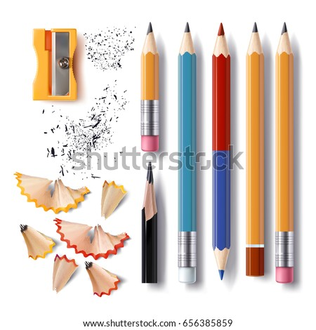 Set of vector illustrations in realistic style sharpened pencils of various lengths with a rubber and without, a sharpener, pencil shavings and a graphite isolated on white