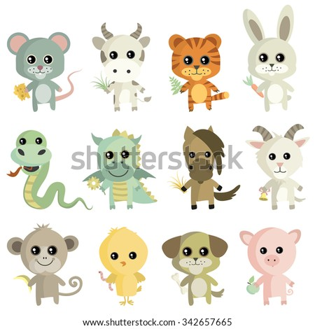 Set of vector illustrations of animals.Chinese Zodiac - stock vector