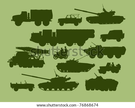 set of vector illustrations of army transport - stock vector