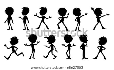 Set of vector illustrations of black cartoon silhouettes of funny caricature guy - stock vector