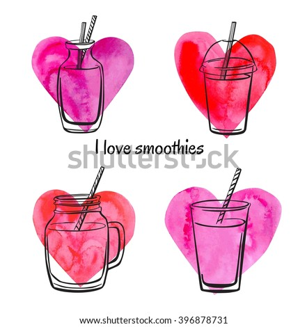 Set of vector illustrations of bottles, jars and glasses with smoothies and juices on bright watercolor hearts. Black sketchy outline on pink paper textured symbols. Isolated on white background. - stock vector