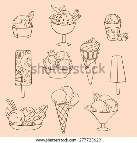 Set of vector illustrations of different varieties of ice cream. Outline drawing - stock vector
