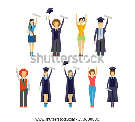 Set of vector illustrations of diverse cheering students and graduates receiving their certificates and diplomas - stock vector