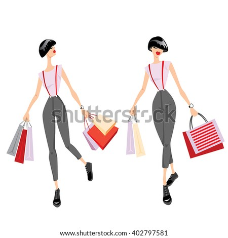 Set of vector illustrations of girls with shopping bags