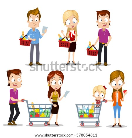 Set of vector illustrations of happy family male and female characters buying food in grocery store. Characters have a great mood with smiles on their faces, hands holding shopping baskets, checklist - stock vector