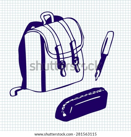 Set of vector illustrations of school supplies. Dark blue ink doodles on lined paper background. - stock vector