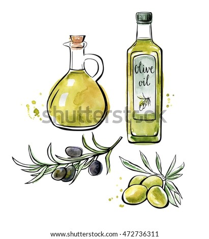 Set of vector illustrations Olive oil. Hand drawn green and black olives with leaves, glass bottle and pitcher. Black outline and bright color texture isolated on white background.