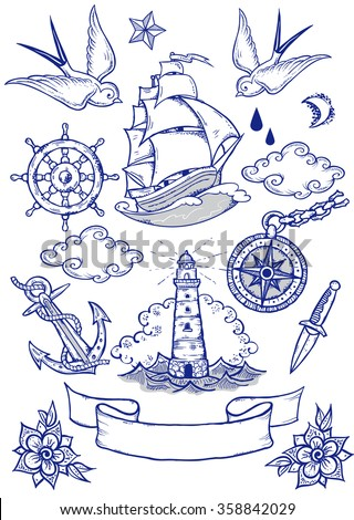 sea travel in tattoo style.Tattoo-art design. New traditional tattoo ...