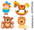 set of vector images. Children's toys - stock photo