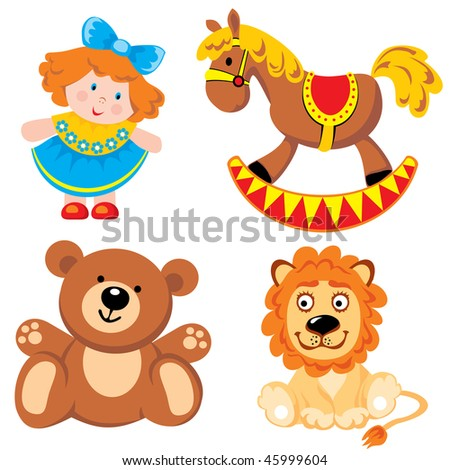 set of vector images. Children's toys - stock vector