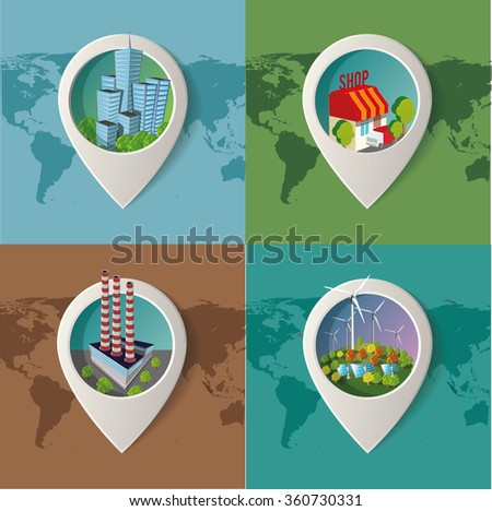 Set of vector images. Green industry infographic - stock vector
