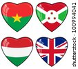 Set of vector images of hearts with the flags of Burkina Faso, Great Britain, Hungary, Brunei - stock vector