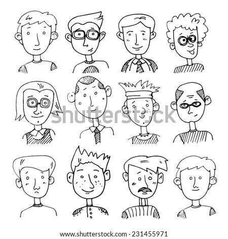 Set of vector  images of male faces in doodle  style. Male characters drawn by hand. Men of different characters and professions - teachers, doctors, students, scientists and others.