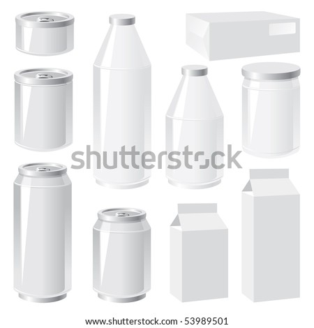 set of vector images of packing containers - stock vector