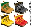 set of vector images of sports tourist shoes of different colors - stock vector