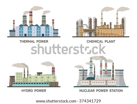 Set of vector industrial flat illustration of different types of power plants. Conception of making energy and pollution of the environment. Nuclear, thermal, hydro, chemical energy. - stock vector