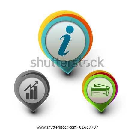 set of vector information, business graph , & credit card  icon design. - stock vector