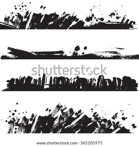 Set of vector ink black blots and splashes. Hand drawn borders. - stock vector