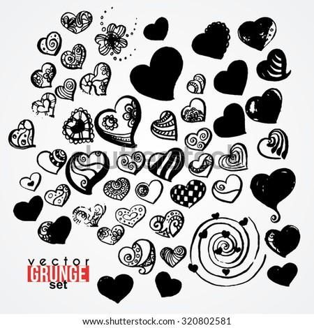 Set of vector ink hearts. Blots. Grunge. Vortex. - stock vector