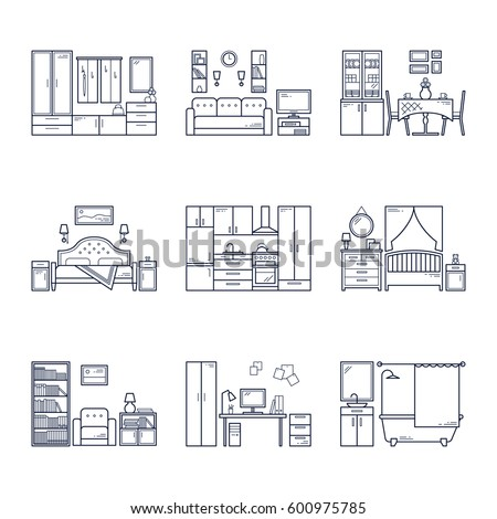 Set Of Vector Interior Design Rooms In Line Black And White Style Illustration Living