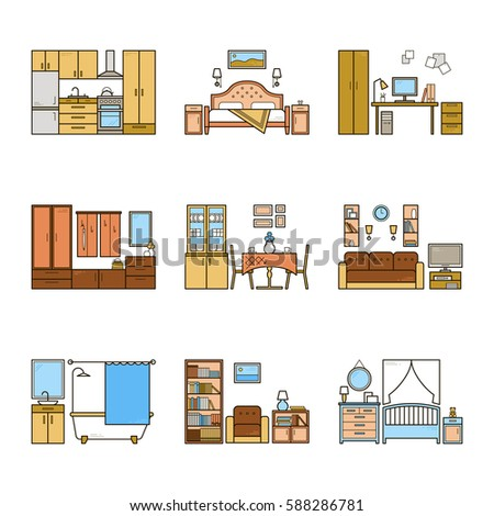 Set Of Vector Interior Design Rooms In Line Colorful Style Harmonic Illustration Living Room