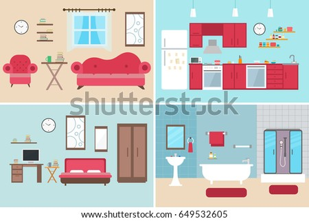 Set Of Vector Interiors With Furniture And Equipment Design Living Room Kitchen Bathroom