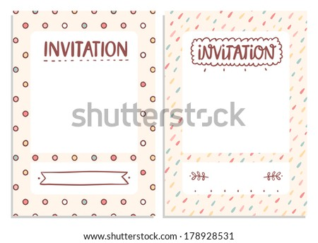 Set of 2 vector invitation templates for festive events, abstract doodle motives - stock vector