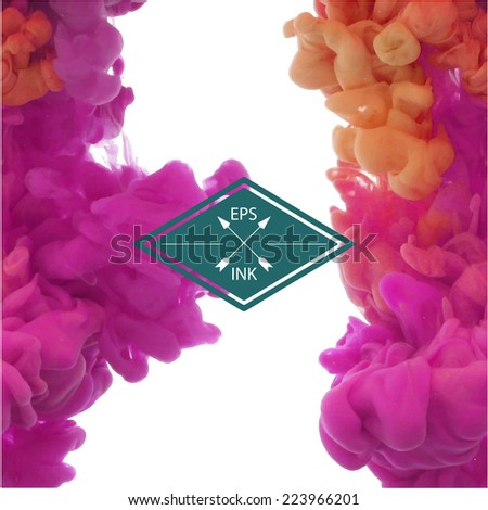 Set of vector isolated cloud of pink and yellow ink swirling in water on white background.  Texture of splashes of paint, ink - stock vector