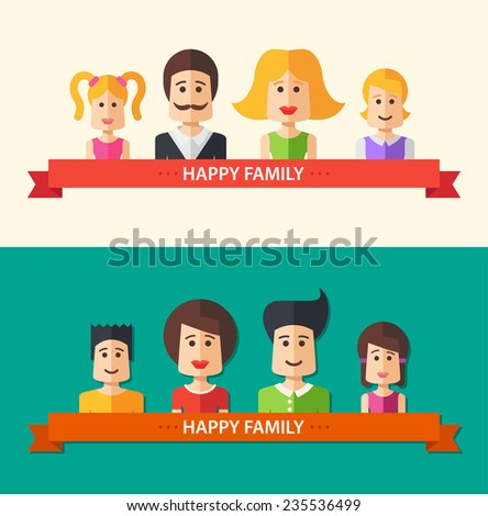 Set of vector isolated flat design happy family icon compositions for social network and your design - stock vector