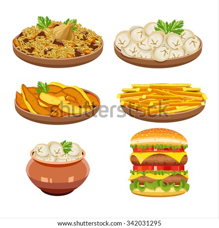 Set of vector isolated illustration, food. Rice, dumplings, French fries, hamburger.