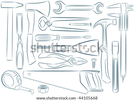 Set of vector isolated tools - stock vector
