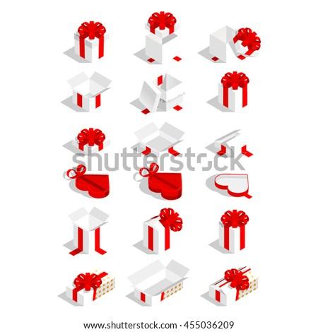 Set of vector isometric 3d flat gift boxes with bows and ribbons. - stock vector