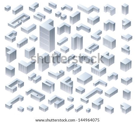 Set of vector isometric modern houses - stock vector