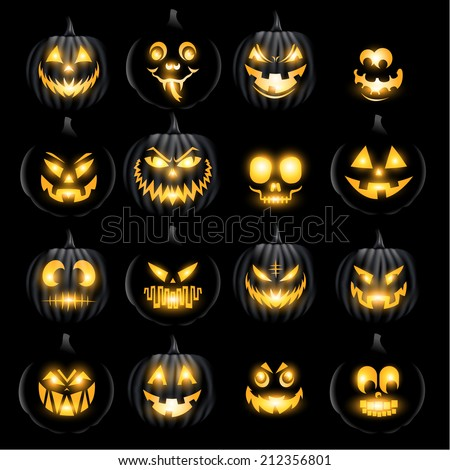 Set of vector jack o lantern pumkins halloween faces - stock vector