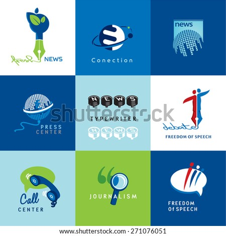 Set of vector journalism icons and symbols of journalism and freedom of speech - stock vector