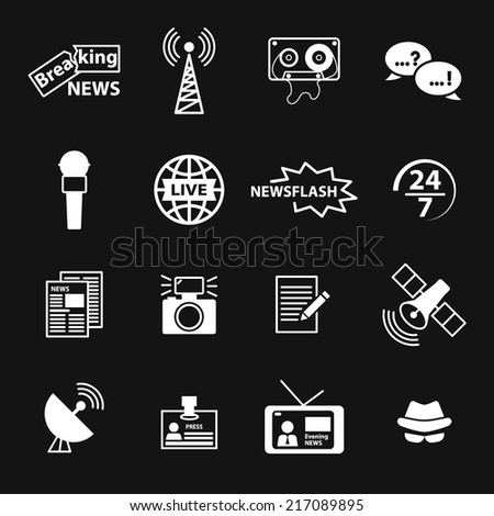Set of vector journalism related icons including newspaper, tv, microphone, camera, breaking news, newsflash, reporter hat, live news, article, broadcasting. Illustration isolated on black - stock vector