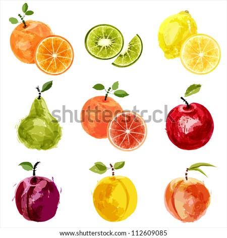 Set of vector juicy ripe fruits-2. EPS10 - stock vector