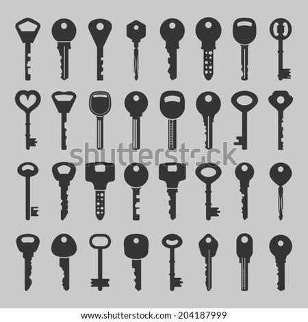 Set of vector keys - stock vector