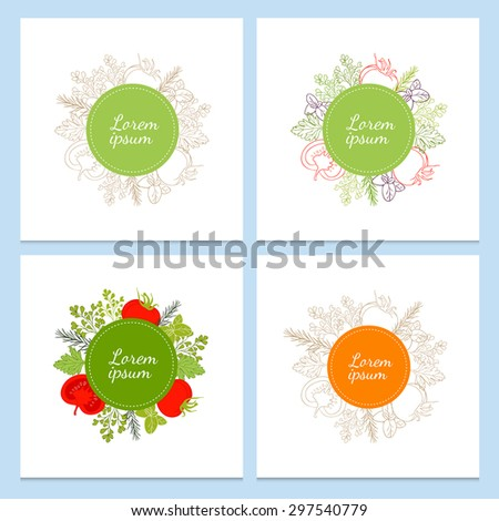 Set of vector label cards with tomatoes and herbs