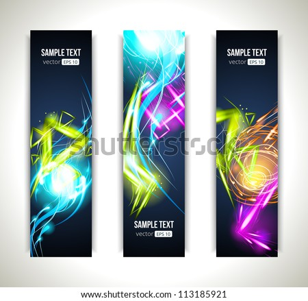 Set of Vector Labels. Colorful Banners and Abstract Headers with Shadows. - stock vector